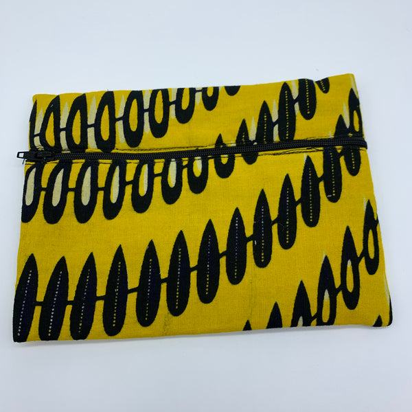 Yellow  padded African Print Makeup bag/Pencil case