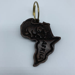 Wooden Key Chain-African Shaped with Elephant