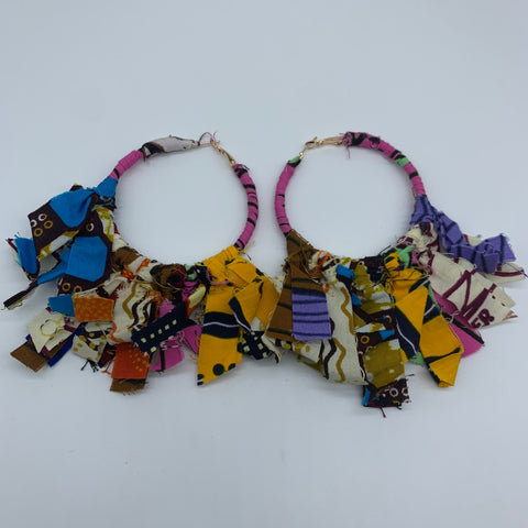 African Print Earrings-Zoba Zoba Hoops Pink Variation