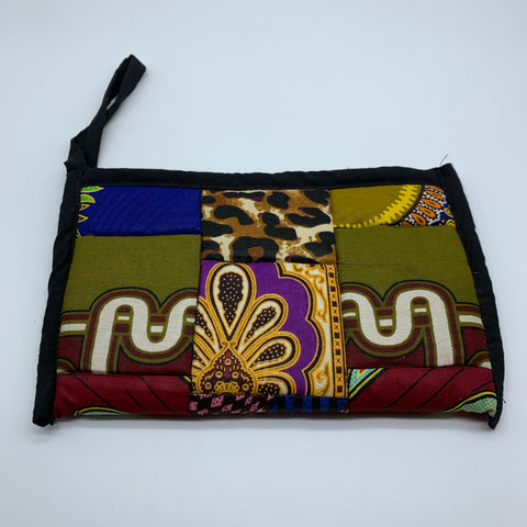 African Print Clutch /W Handle- Zoba Zoba Black Variation - Lillon Boutique