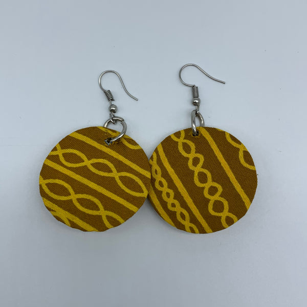 African Print Earrings-Round XS Yellow Variation 11