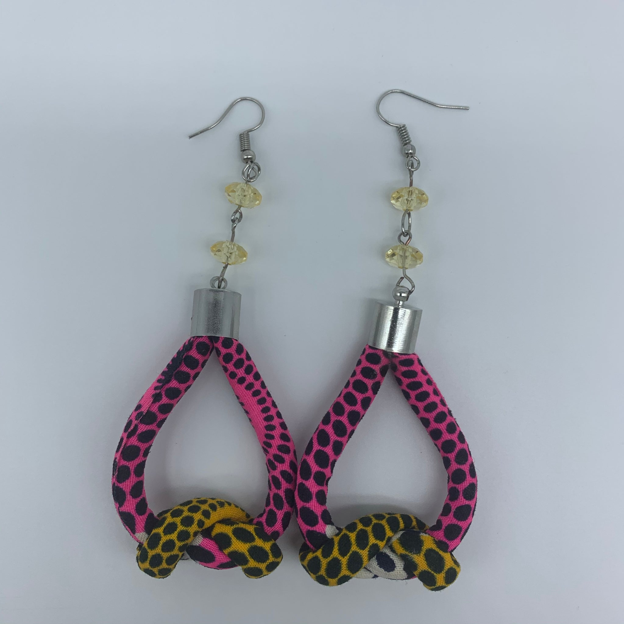 African Print Earrings-Knotted S Pink Variation