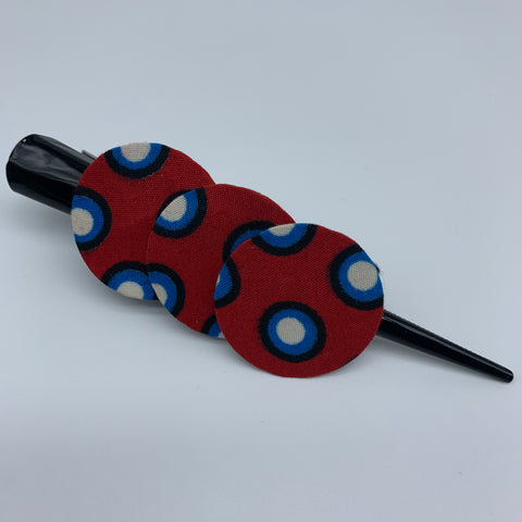 African Print Hair Clip- L Red Variation