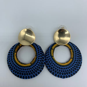 African Print Earrings-Metal Circle Blue Variation