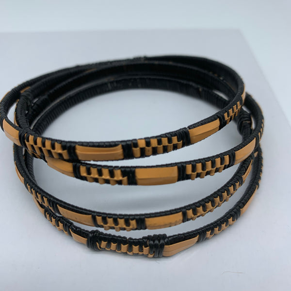 Metal W/ Plastic Bangle-XS Beige Variation
