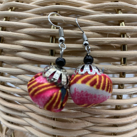 African Print Earrings W/ Beads-Puff Ball Pink Variation
