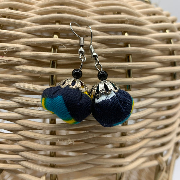 African Print Earrings W/ Beads-Puff Ball Blue Variation 6