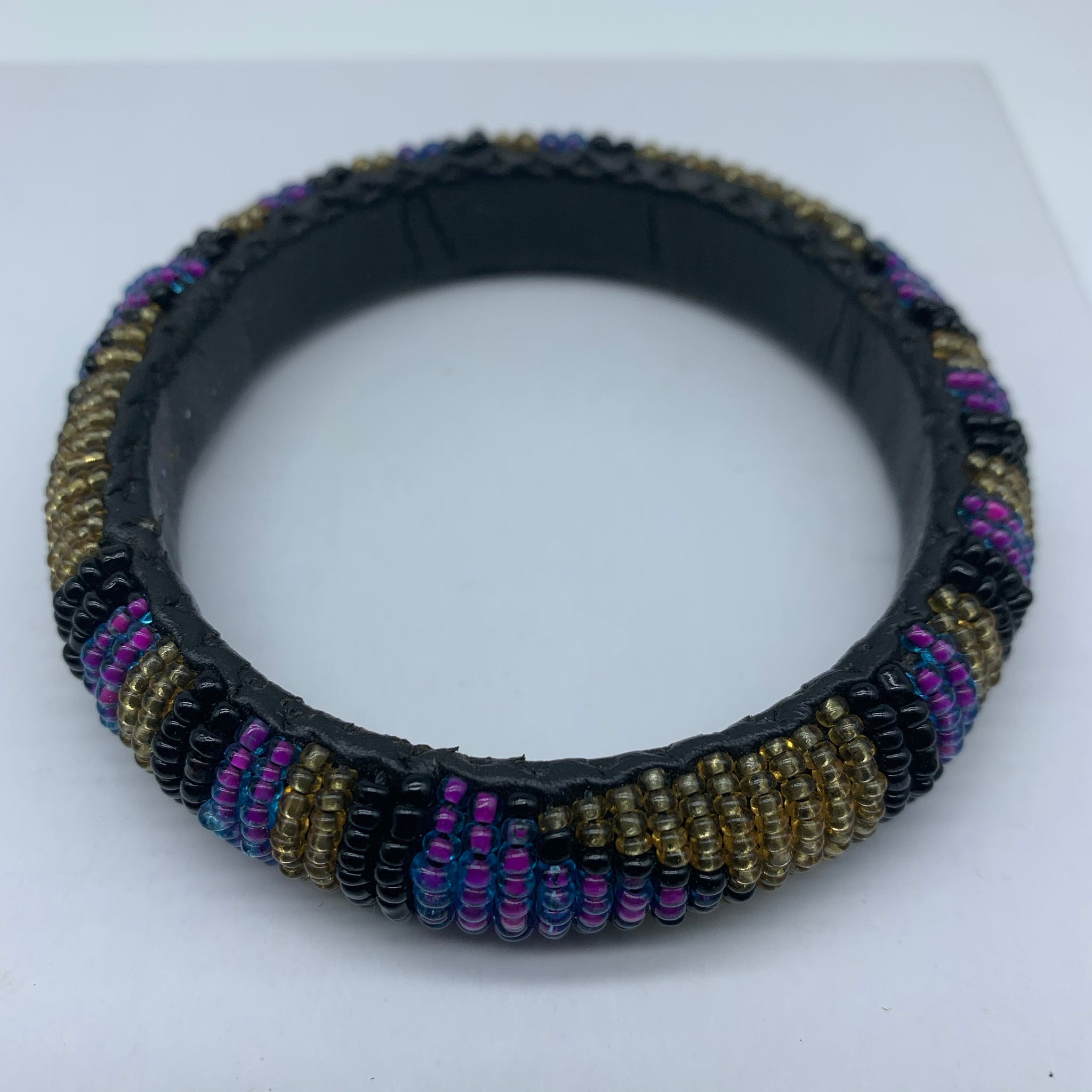 Beaded Bangle-Purple Gold Black Variation