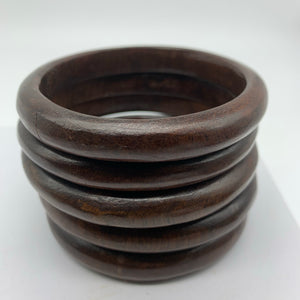 Wooden Bangle-M Dark Brown Variation
