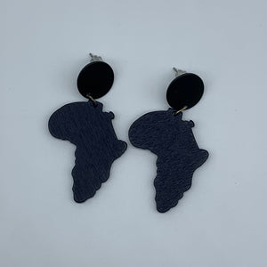 Wooden Earrings W/ Metal -African Continent Blue Variation - Lillon Boutique