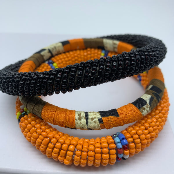 African Print Bangle-Orange Variation