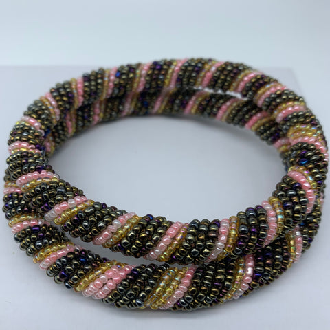 Beaded Bangle-Metallic Pink Variation