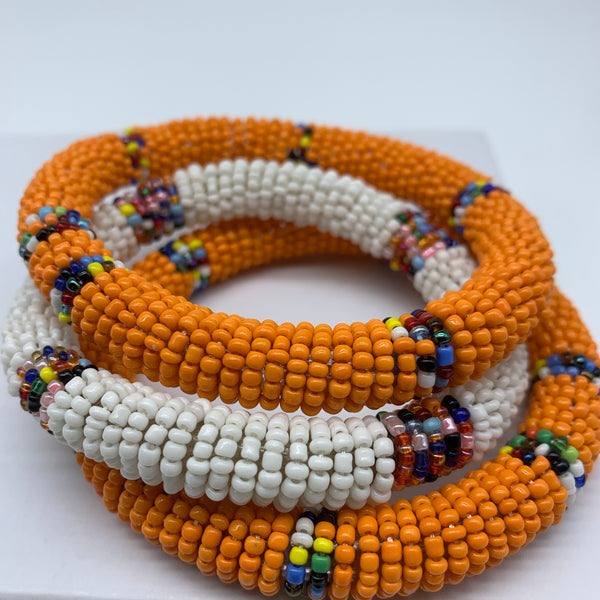 Beaded Bangle-White and Multi Colour