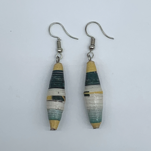Recycled Paper Earrings- Green Variation 7 - Lillon Boutique