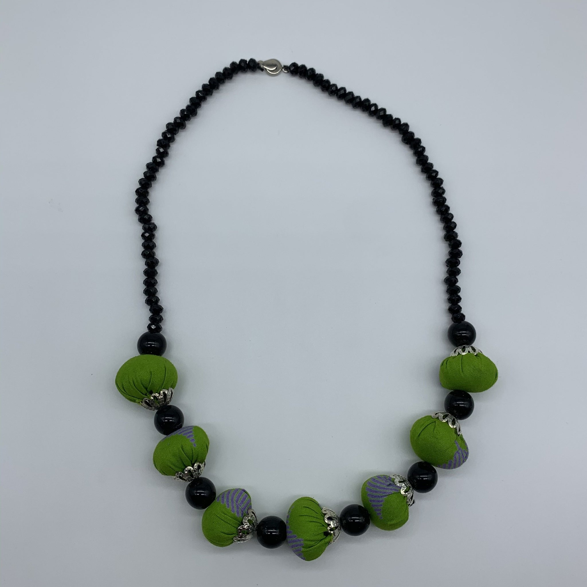 African Print Necklace W/ Beads-Green Variation