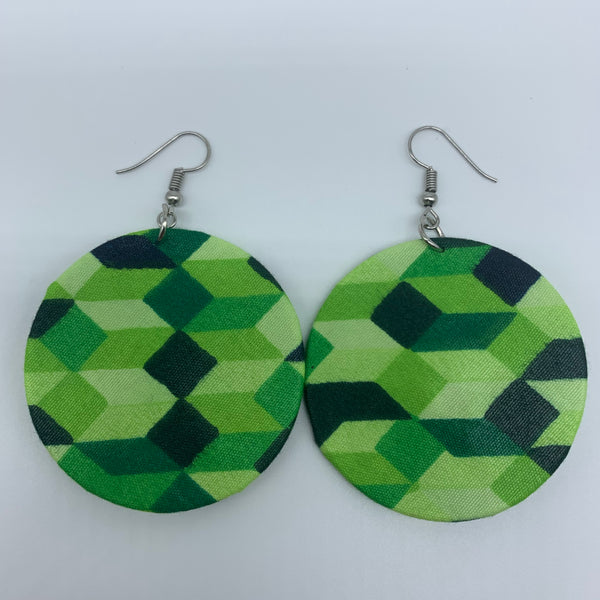 African Print Earrings-Round S Green Variation 17