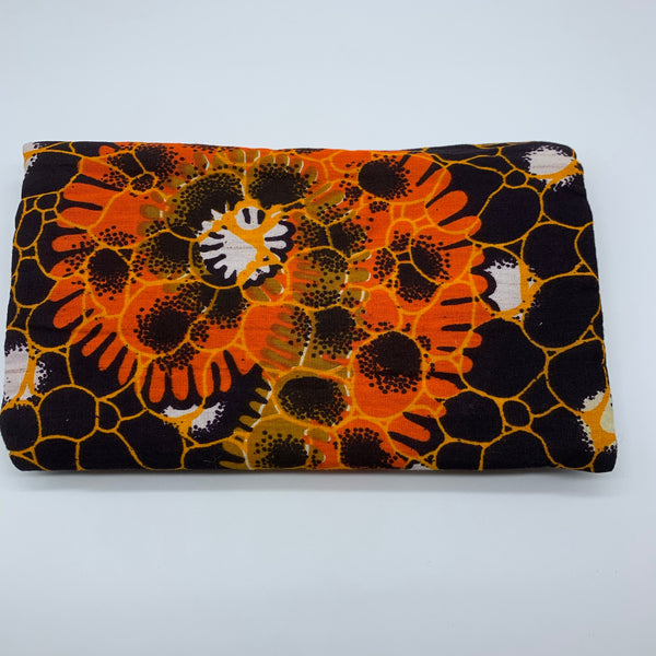 African Print Clutch- S Brown Variation