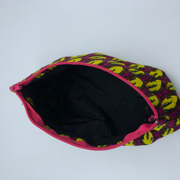 Yellow & Pink African Print Makeup bag/Pencil case