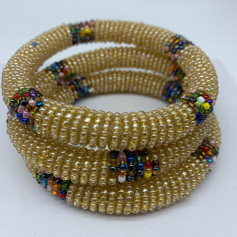 Beaded Bangle-Champagne and Multi Colour Variation