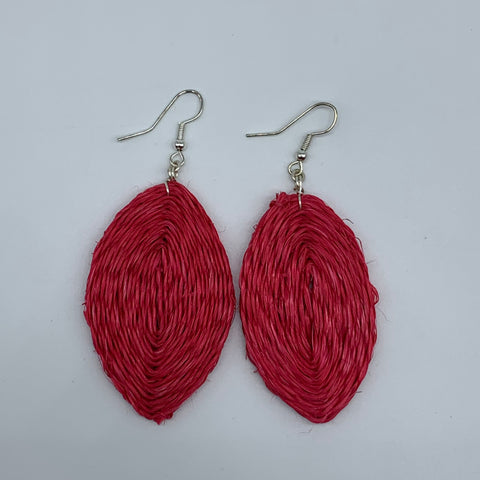 Sisal Earrings- Kaya Leaf Red Variation - Lillon Boutique