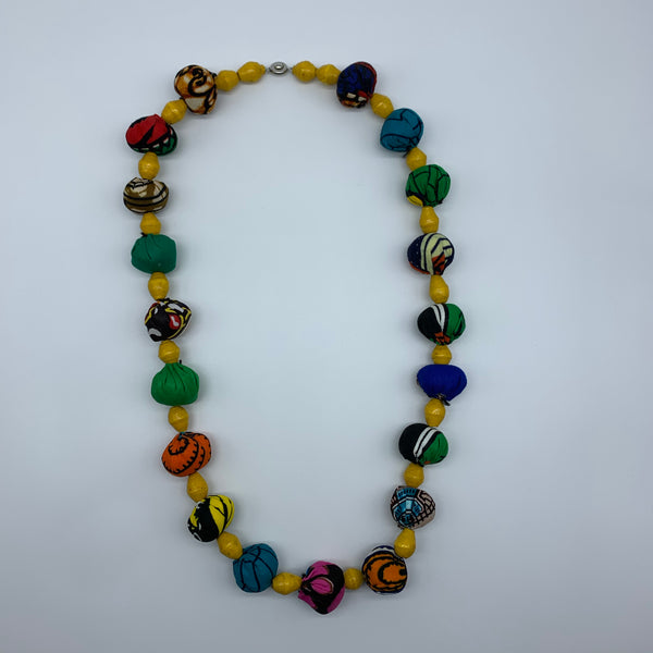 African Print Necklace W/Recycled Paper Beads-Yellow Variation