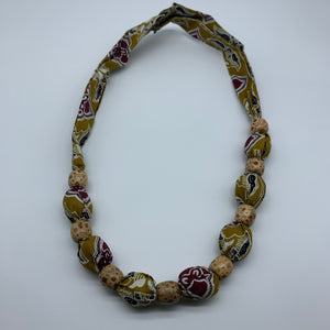 African Print Necklace W/Wooden Beads-Green Variation
