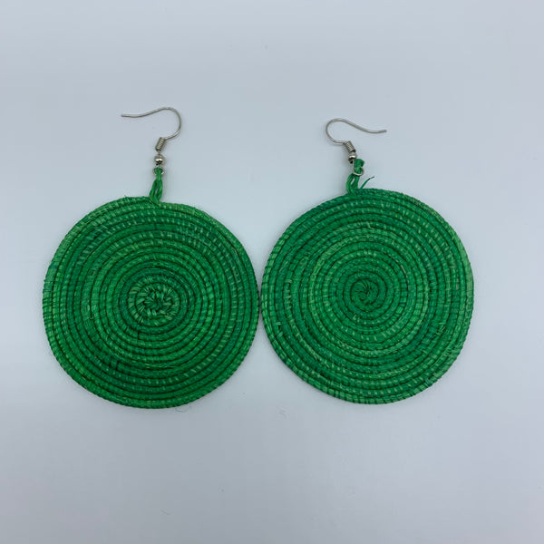 Sisal Earrings- Green 2 - Lillon Boutique