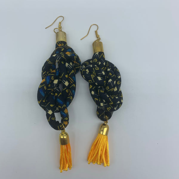 African Print Earrings-Knotted L Black Variation - Lillon Boutique