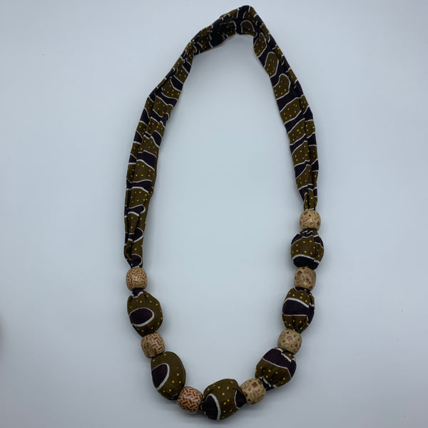 African Print Necklace W/Wooden Beads-Green Variation 2