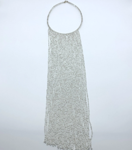 Beaded Bangle Thin Necklace-Waterfall L White Variation - Lillon Boutique