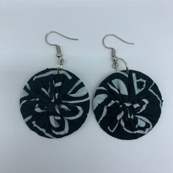 African Print Earrings-Round XS Green Variation 10
