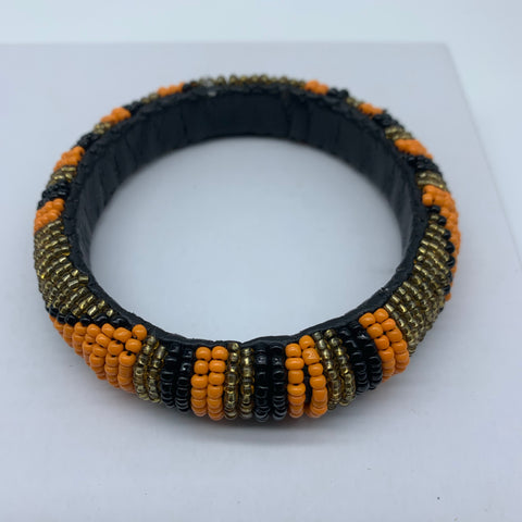Beaded Bangle-Orange Gold Black Variation