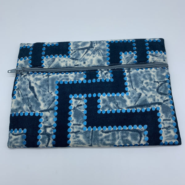 Blue padded African Print Makeup bag/Pencil case