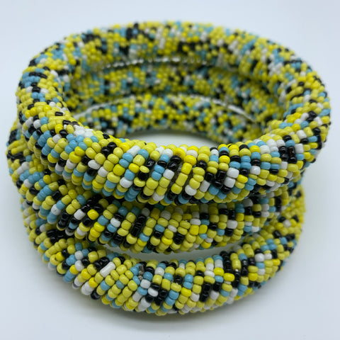 Beaded Bangle-Yellow and Multi Colour 2