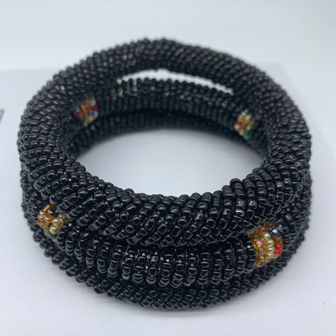 Beaded Bangle-Black and Multi Colour Variation