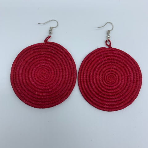 Sisal Earrings-Red - Lillon Boutique