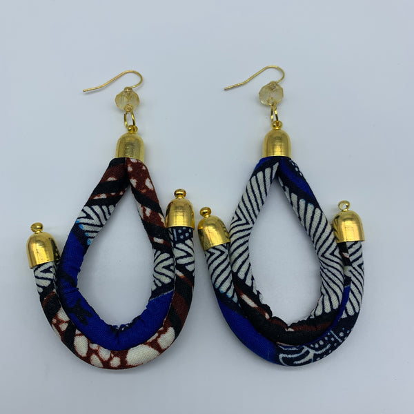 African Print Earrings-Anchor Blue Variation - Lillon Boutique