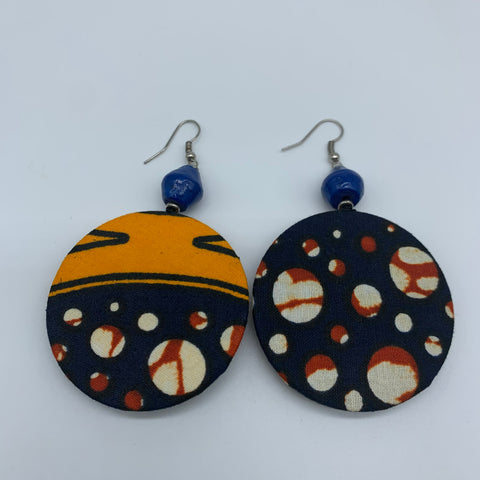 African Print Earrings W/ Recycled Beads-Round S Blue Variation