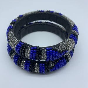 Beaded Bangle-Blue Silver Black Variation