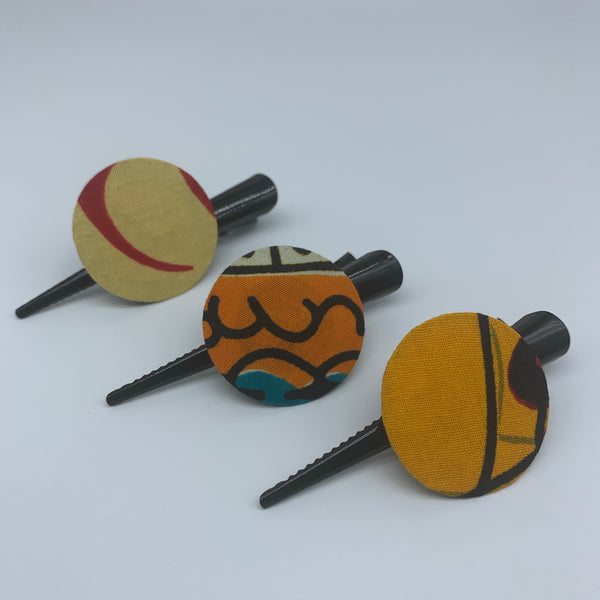 African Print Hair Clip-S Orange Variation