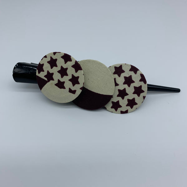 African Print Hair Clip- L Brown Variation 2
