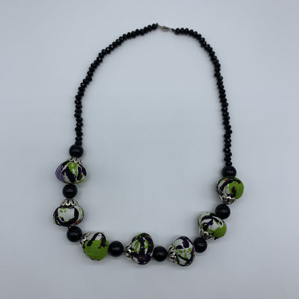 African Print Necklace W/ Beads-Green Variation 3