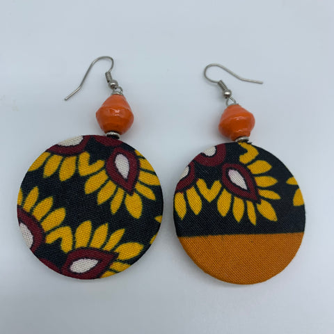 African Print Earrings W/ Beads-Round XS Orange Variation