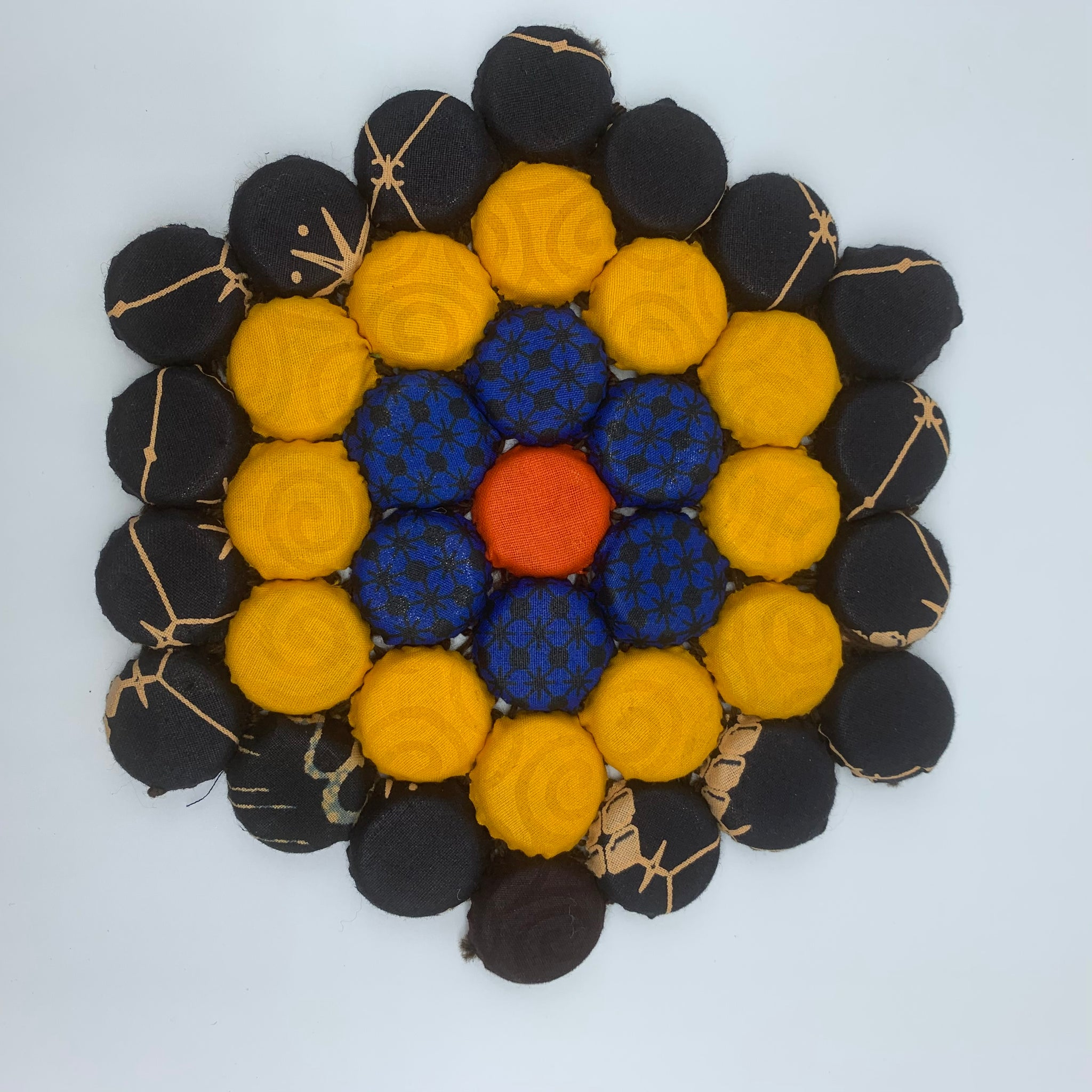 Bottle Caps Table Decoration- Flower Multi Colour Black Variation