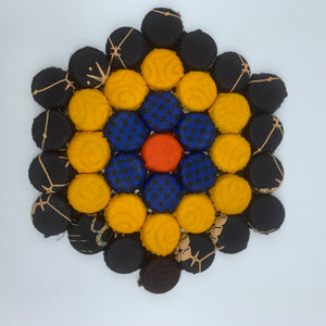 Bottle Caps Table Decoration- Flower Multi Colour Black Variation - Lillon Boutique
