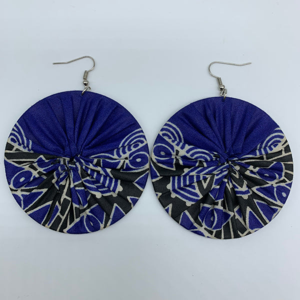 African Print Earrings-Round L Blue Variation 18