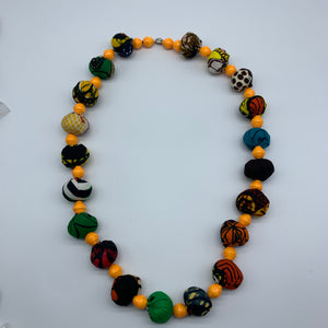 African Print Necklace W/Recycled Paper Beads-Orange Variation 2