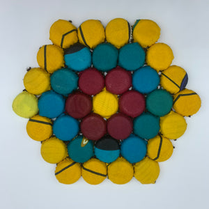 Bottle Caps Table Decoration- Flower Multi Colour Yellow Variation 2 - Lillon Boutique