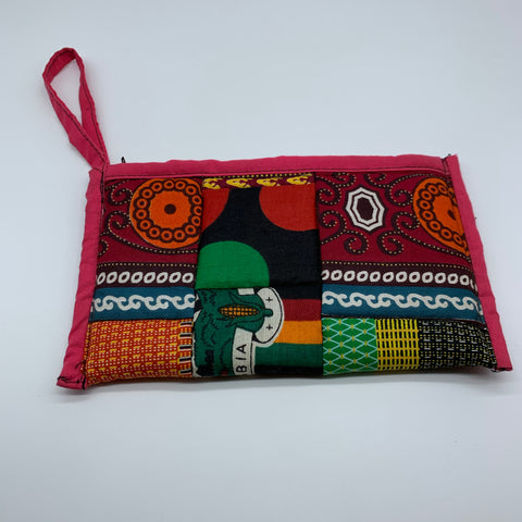 African Print Clutch /W Handle- Zoba Zoba Red Variation - Lillon Boutique