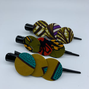 African Print Hair Clip- L Green Variation 6 - Lillon Boutique